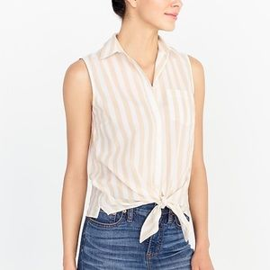 J. Crew Tie Front Yellow and White Striped Top